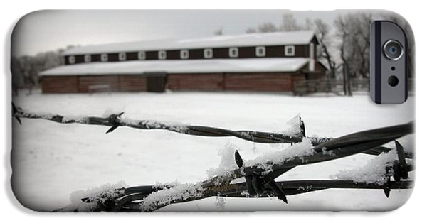 Winter Storm iPhone Cases - Barbed Wire Barn iPhone Case by Krista Carofano