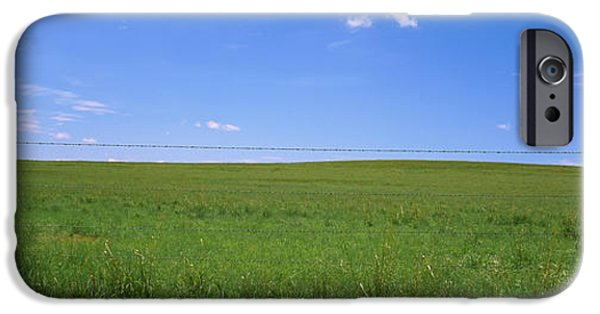 Meadow Photographs iPhone Cases - Barbed Wire Fence In A Field, San iPhone Case by Panoramic Images