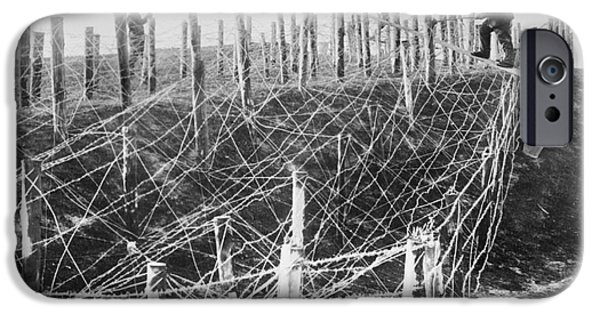 Wwi iPhone Cases - Barbed Wire Trench Defences, World War I iPhone Case by Library Of Congress