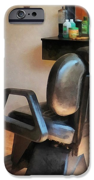 Barberchairs iPhone Cases - Barber - Barber Chair and Hair Supplies iPhone Case by Susan Savad