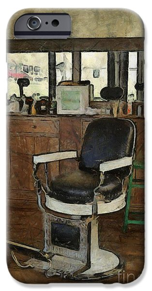 Barberchairs iPhone Cases - Barber - Barber Shop iPhone Case by Liane Wright