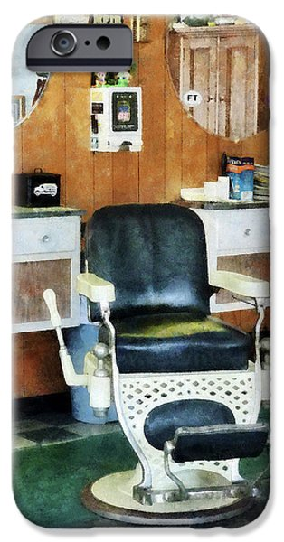 Barberchairs iPhone Cases - Barber - Barber Shop One Chair iPhone Case by Susan Savad