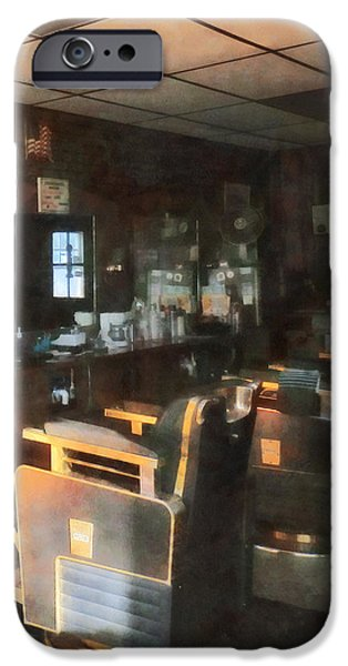 Barberchairs iPhone Cases - Barber - Barber Shop With Sun Streaming Through Window iPhone Case by Susan Savad