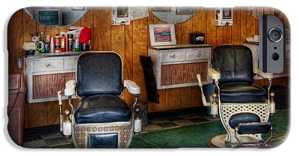 Barberchairs iPhone Cases - Barber - Frenchtown NJ - Two old barber chairs  iPhone Case by Mike Savad
