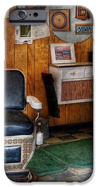 Barber - Frenchtown NJ - Two old barber chairs  iPhone Case by Mike Savad