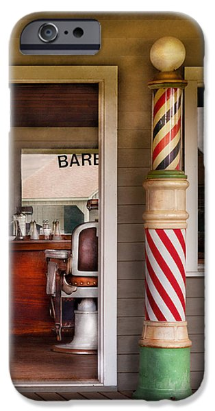Suburbanscenes iPhone Cases - Barber - I need a hair cut iPhone Case by Mike Savad