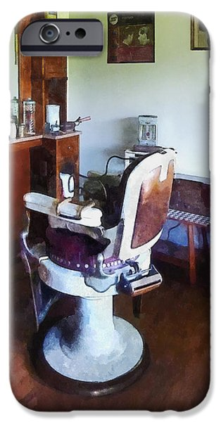 Barberchairs iPhone Cases - Barber - Old-Fashioned Barber Chair iPhone Case by Susan Savad