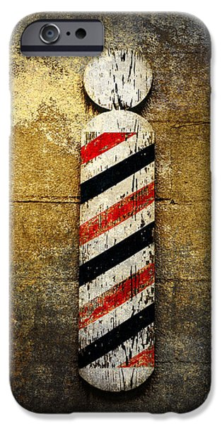Red White And Blue Mixed Media iPhone Cases - Barber Pole iPhone Case by Andee Design