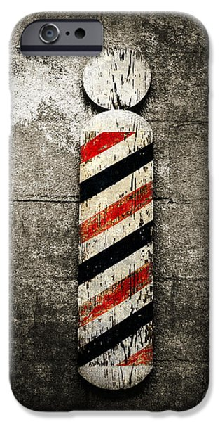 Red White And Blue Mixed Media iPhone Cases - Barber Pole Selective Color iPhone Case by Andee Design