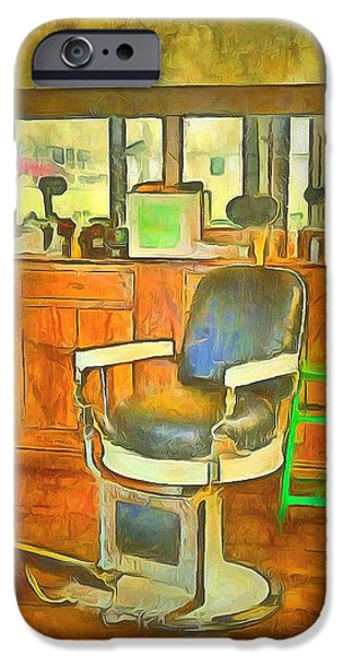 Barberchairs iPhone Cases - Barber Shop  iPhone Case by L Wright