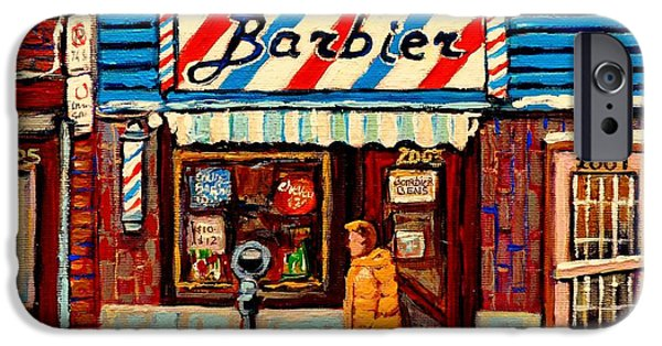 Barbier iPhone Cases - Barber Shop Paintings And Prints Montreal Winter Street Scenes Vintage Storefront Carole Spandau iPhone Case by Carole Spandau