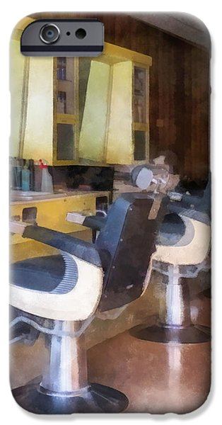 Barberchairs iPhone Cases - Barber - Small Town Barber Shop iPhone Case by Susan Savad