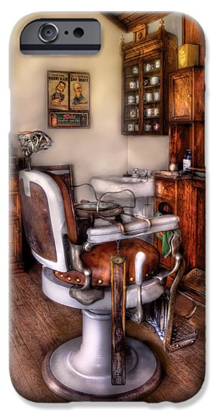 Barber - The Barber Chair iPhone Case by Mike Savad