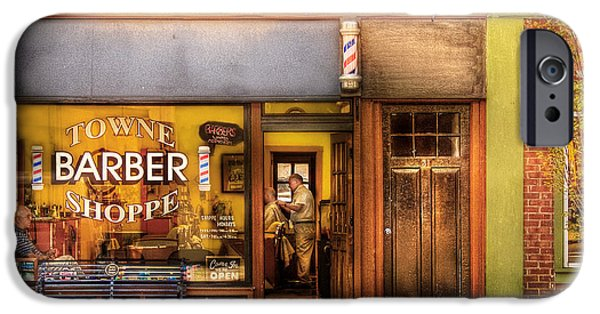 Seated iPhone Cases - Barber - Towne Barber Shop iPhone Case by Mike Savad