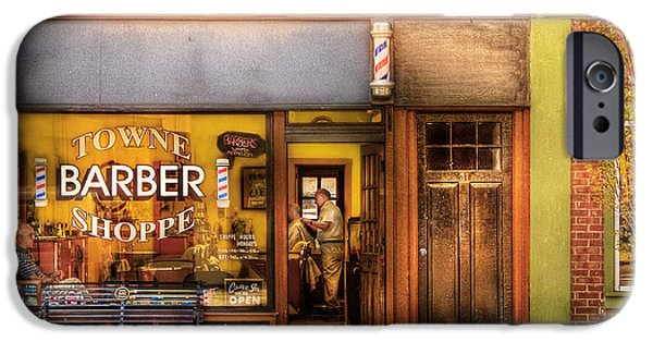 Personalized iPhone Cases - Barber - Towne Barber Shop iPhone Case by Mike Savad