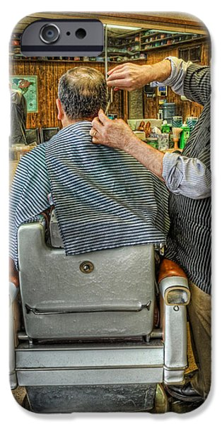 Barberchairs iPhone Cases -  the Barber Shop Shave and a Haircut - Barber Shop iPhone Case by Lee Dos Santos