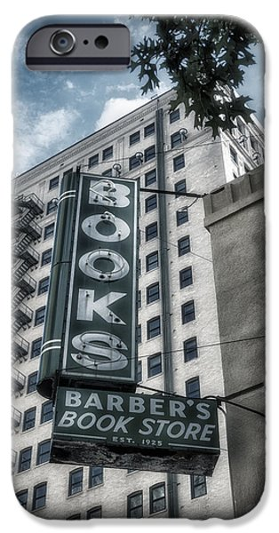 Graphic Design iPhone Cases - Barbers Book Store iPhone Case by Joan Carroll