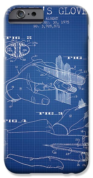 Barber iPhone Cases - Barbers Glove Patent from 1975 - Blueprint iPhone Case by Aged Pixel