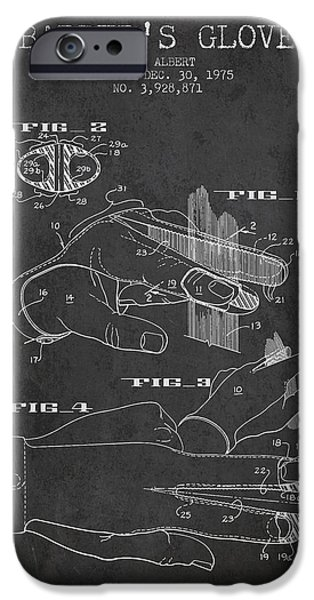 Barber iPhone Cases - Barbers Glove Patent from 1975 - Charcoal iPhone Case by Aged Pixel