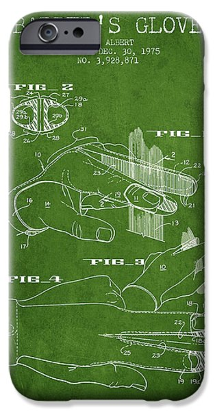 Barber iPhone Cases - Barbers Glove Patent from 1975 - Green iPhone Case by Aged Pixel