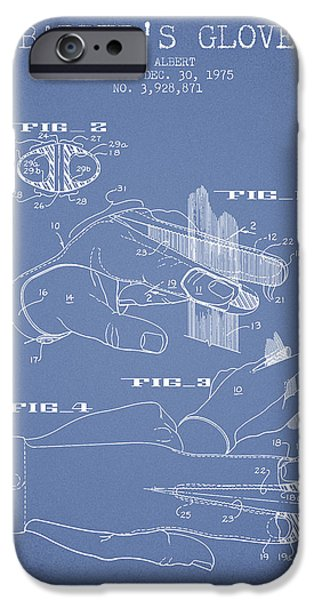 Barber iPhone Cases - Barbers Glove Patent from 1975 - Light Blue iPhone Case by Aged Pixel