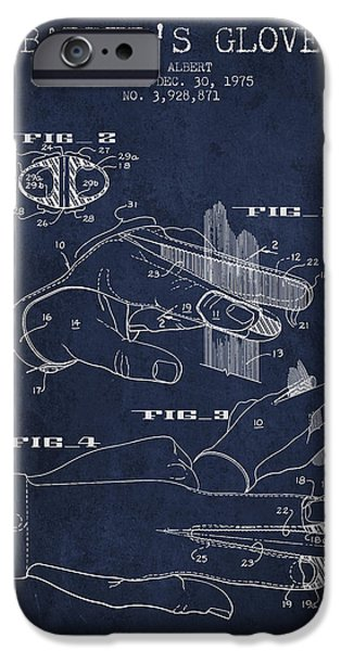 Barber iPhone Cases - Barbers Glove Patent from 1975 - Navy Blue iPhone Case by Aged Pixel
