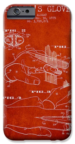 Barber iPhone Cases - Barbers Glove Patent from 1975 - Red iPhone Case by Aged Pixel
