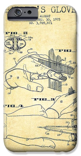 Barber iPhone Cases - Barbers Glove Patent from 1975 - Vintage iPhone Case by Aged Pixel
