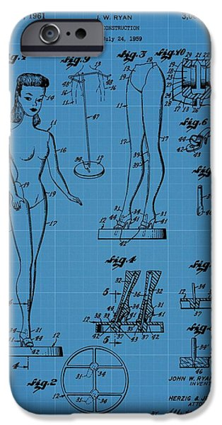 Toy Store iPhone Cases - Barbie Doll Blueprint iPhone Case by Dan Sproul