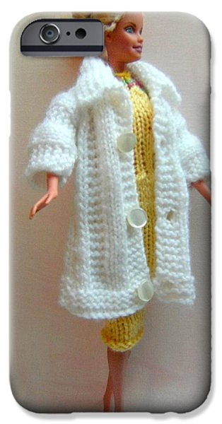 A Summer Evening iPhone Cases - Barbie Doll in a knitted dress and coat iPhone Case by L M Reid
