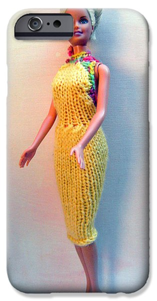 A Summer Evening iPhone Cases - Barbie Doll in a knitted dress iPhone Case by L M Reid