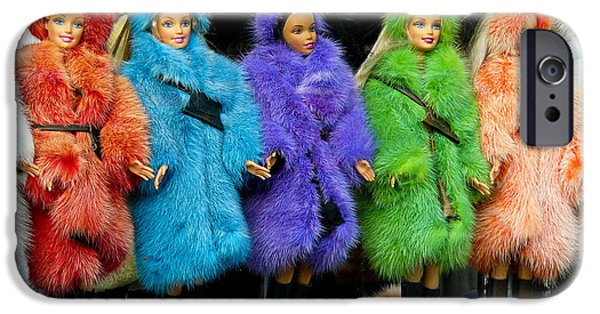 Toy Store Photographs iPhone Cases - Barbie Dolls in Colored Fur Coats iPhone Case by Amy Cicconi