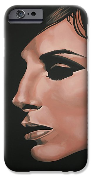 Idol Paintings iPhone Cases - Barbra Streisand iPhone Case by Paul Meijering