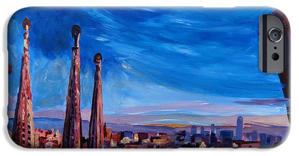 Barcelona Paintings iPhone Cases - Barcelona City View and Sagrada Familia iPhone Case by M Bleichner
