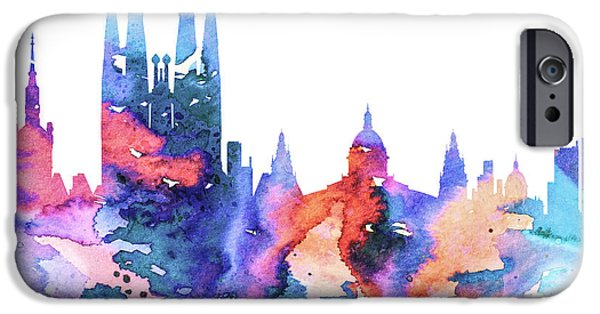 Maps Paintings iPhone Cases - Barcelona iPhone Case by Luke and Slavi