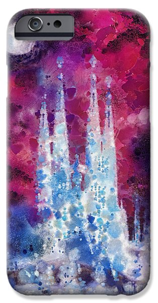 Barcelona Paintings iPhone Cases - Barcelona Night iPhone Case by Mo T