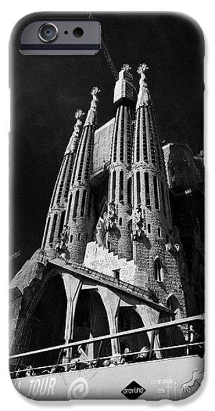 Basilica iPhone Cases - barcelona open topped bus city tour going past Sagrada Familia Barcelona Catalonia Spain iPhone Case by Joe Fox