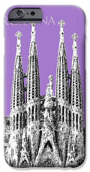 Pen And Ink iPhone Cases - Barcelona Skyline La Sagrada Familia - Violet iPhone Case by DB Artist