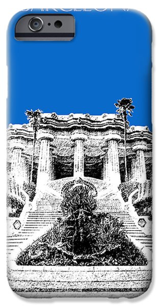 Pen And Ink iPhone Cases - Barcelona Skyline Park Guell - Blue iPhone Case by DB Artist