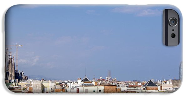 La Sagrada Famila iPhone Cases - Barcelona skyline iPhone Case by Patrick Dinneen