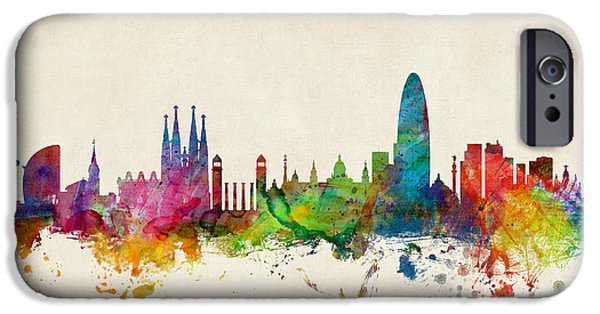 Spain iPhone Cases - Barcelona Spain Skyline iPhone Case by Michael Tompsett