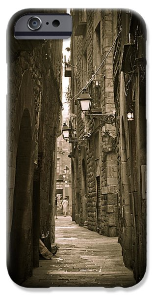 Barcelona street iPhone Case by Mesha Zelkovich