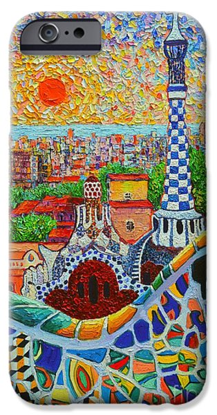 Recently Sold -  - Serpent iPhone Cases - Barcelona Sunrise - Guell Park - Gaudi Tower iPhone Case by Ana Maria Edulescu