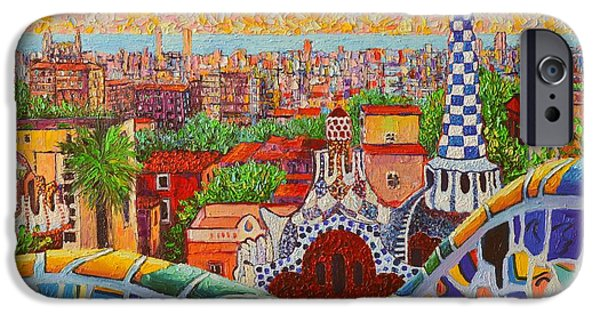 Serpent iPhone Cases - Barcelona Sunrise Light - View From Park Guell Of Gaudi - Square Format iPhone Case by Ana Maria Edulescu