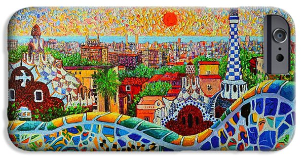 Gothic iPhone Cases - Barcelona View At Sunrise - Park Guell  Of Gaudi iPhone Case by Ana Maria Edulescu