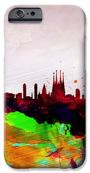 Downtown Digital iPhone Cases - Barcelona Watercolor Skyline iPhone Case by Naxart Studio