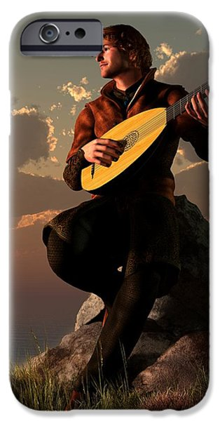 Lute Digital Art iPhone Cases - Bard With Lute iPhone Case by Daniel Eskridge