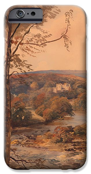 Crayons Drawings iPhone Cases - Barden Tower Yorkshire iPhone Case by Peter DeWint