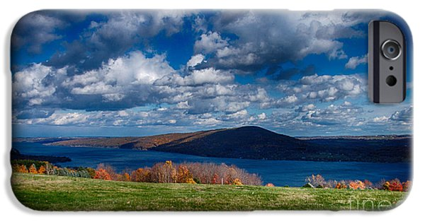 Canandaigua Lake iPhone Cases - Bare Hill along Canandaigua Lake iPhone Case by Steve Clough