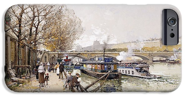 Eugene Laloue iPhone Cases - Barges on the Seine iPhone Case by Eugene Galien-Laloue